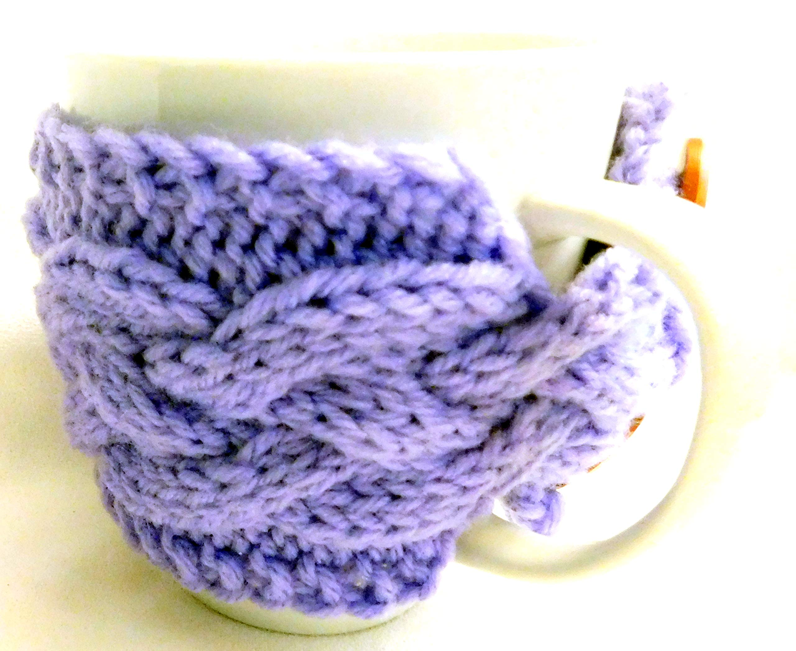 Integrity Designs Handmade Coffee Cup Sleeve Mug Cozy Purple and 3 inch Square Gift Card with Envelope