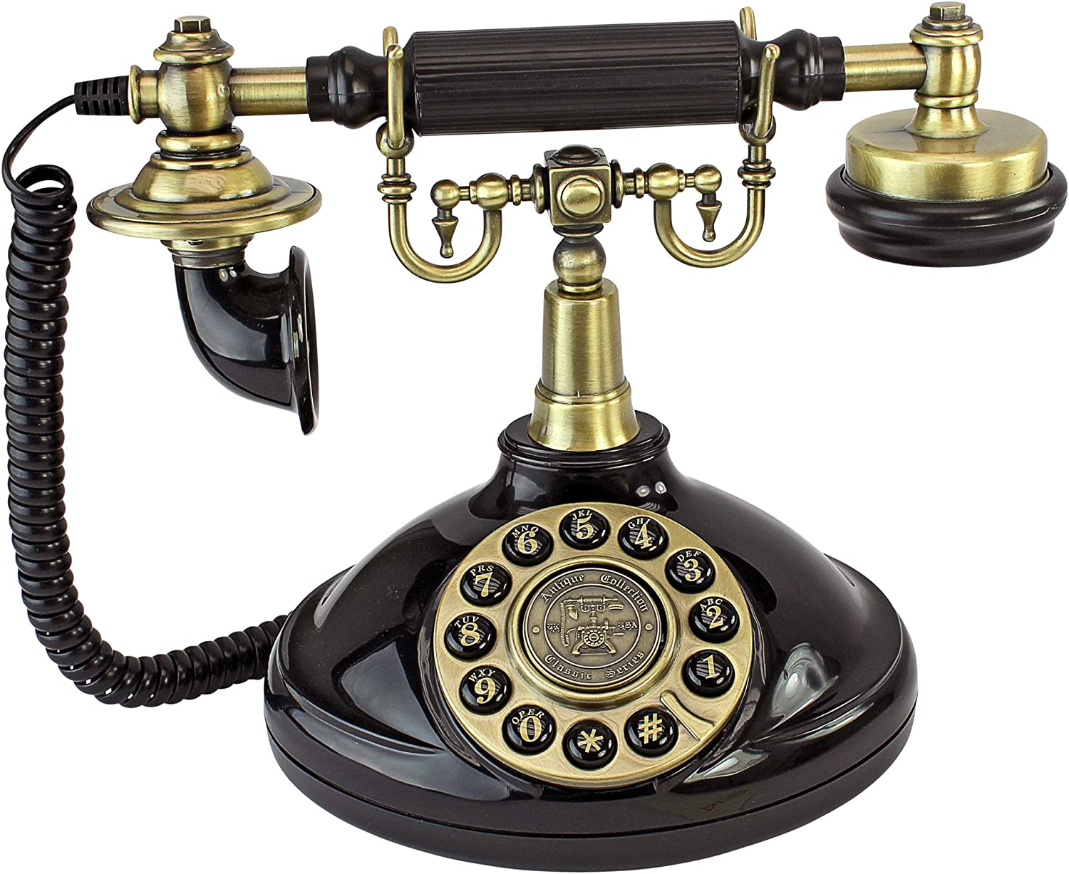 Design Toscano PM1920 Antique Brittany Neophone 1929 Rotary Corded Retro Phone - Vintage Decorative Telephones, Black
