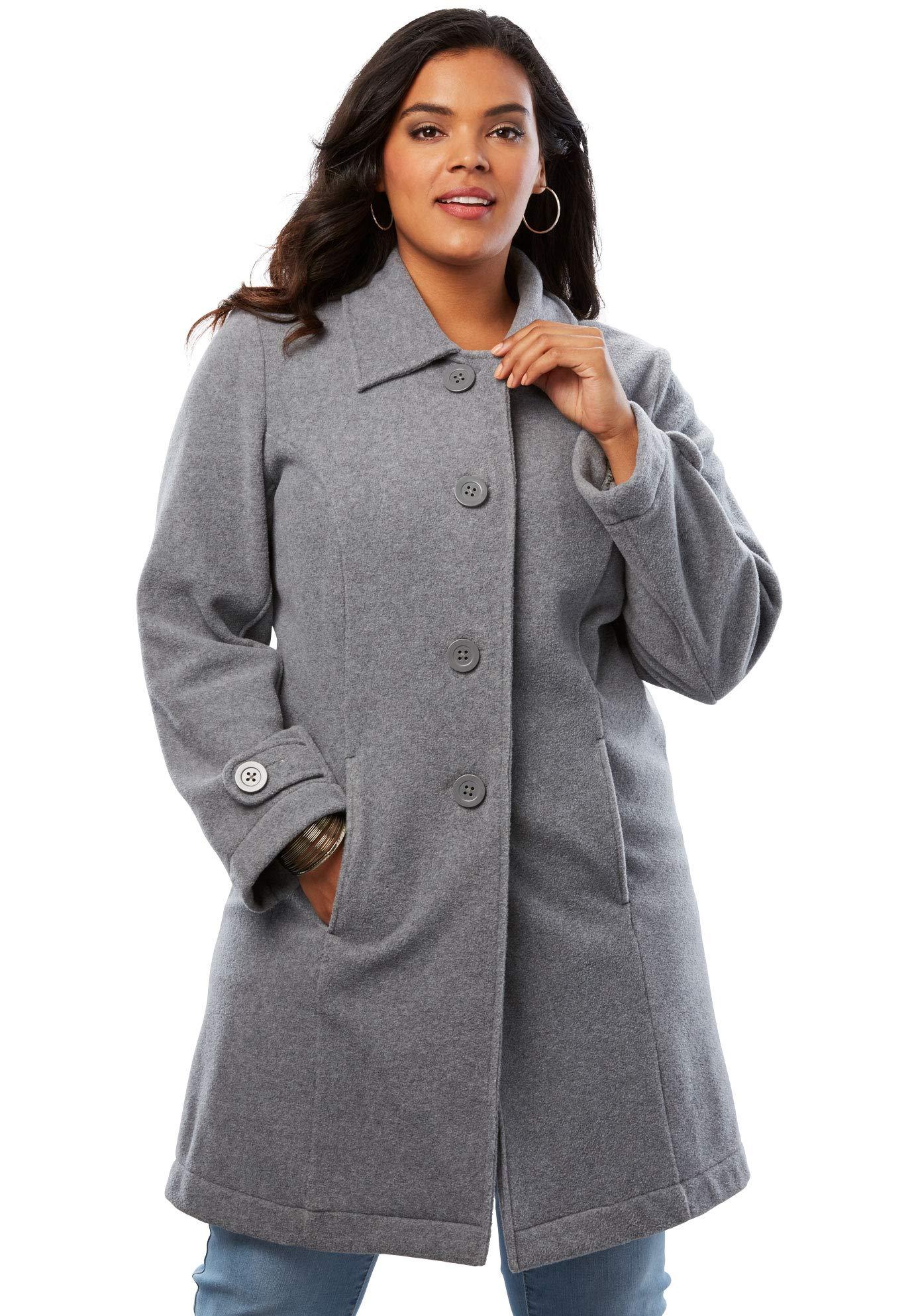 Roamans Women's Plus Size Plush Fleece Jacket - Heather Grey, 5X by Roamans
