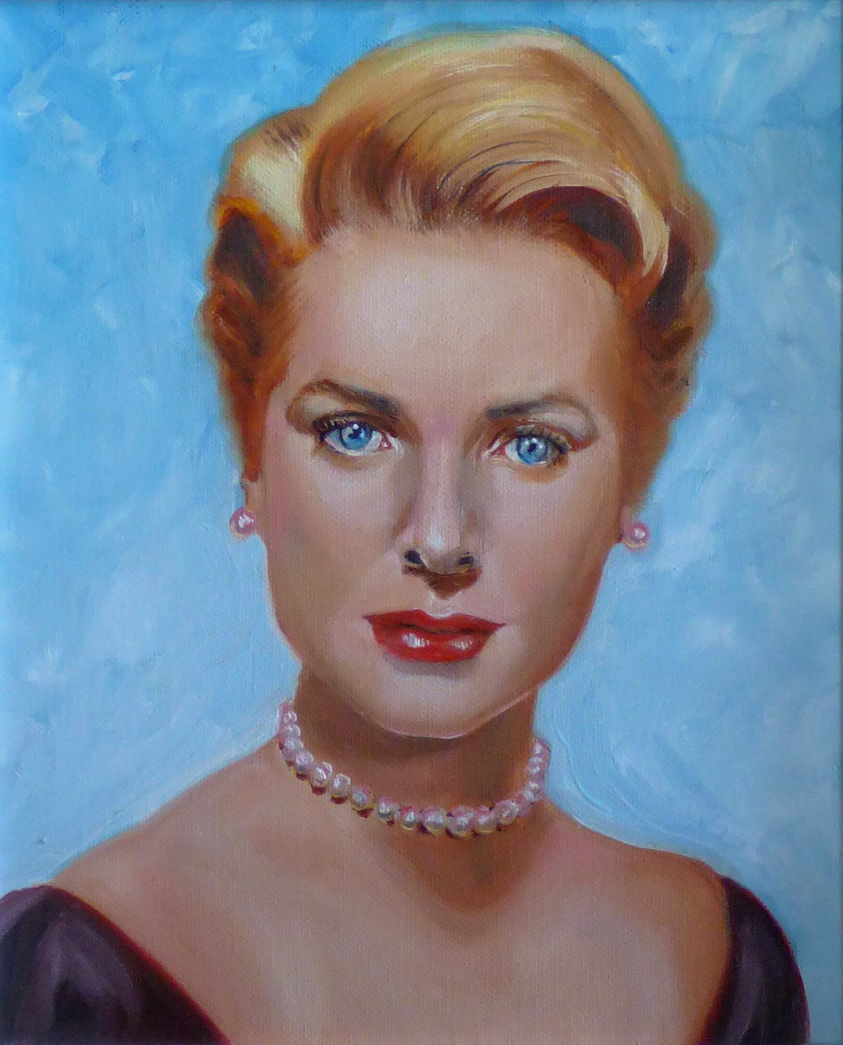 Grace Kelly - Framed Oil Painting on Canvas, Original & Unique Art from Ireland