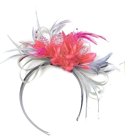 cb67727d216fc Grey Silver & Coral Fascinator on Headband AliceBand UK Wedding Ascot Races  Loop: Amazon.co.uk: Clothing