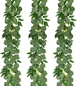 COCOBOO Eucalyptus Garland 3 Packs 19.5Ft Artificial Silver Dollar Eucalyptus with Willow Vines Twigs Leaves Greenery Garland Decor Wedding Party Table Runner Arch Indoor Outdoor Wall Decor