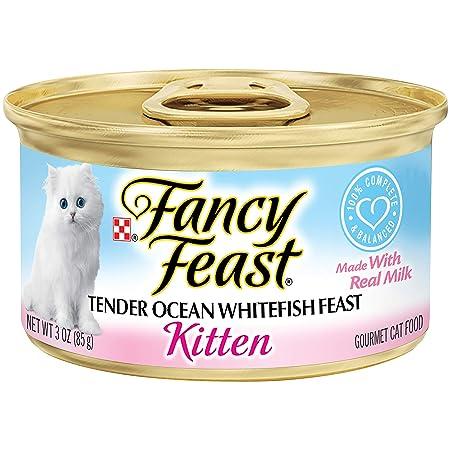 Purina Fancy Feast Wet Kitten Food, Tender Ocean Whitefish Feast, 3 oz Cans (Pack of 24)