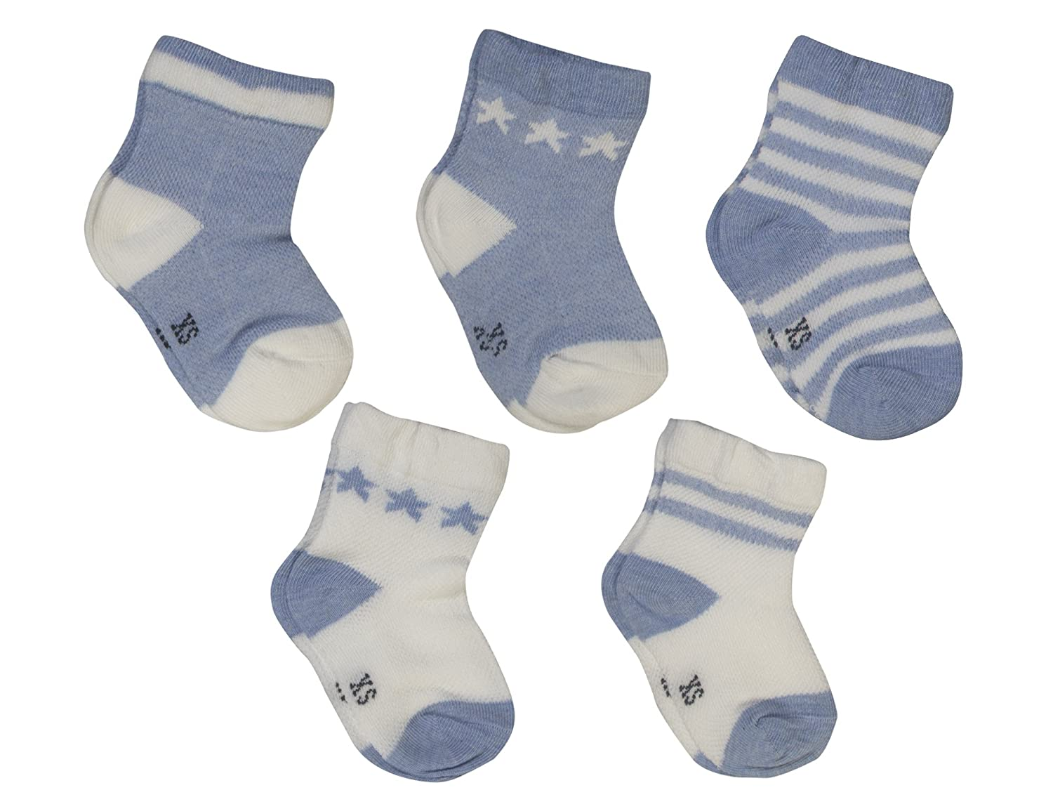 Baby Boys Girls Toddler Cotton Socks 5 Pairs Cute Soft Thin Breathable Absorbent Stretchable Star Stripe Pattern
