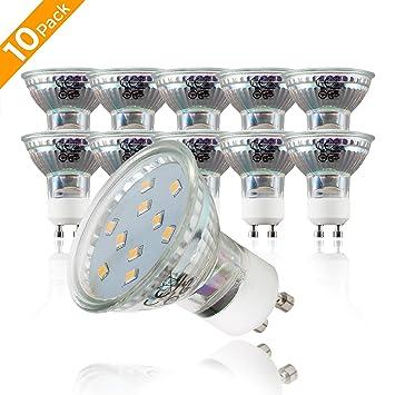 10x3W Bombillas LED GU10 IP20 I Luz blanco cálido 3000K 250lm 230V I 58x50mm I Spotlights 10 unidades: Amazon.es: Iluminación