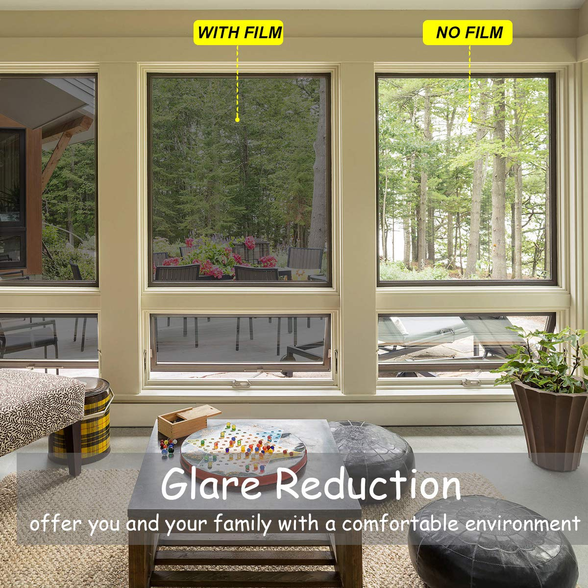 Sun Blocking Window Film, One Way Mirror Window Film Static Cling Glass Tint for Home and Office Daytime Privacy, Heat Control, UV Rejection and Glare Reduction (Black-Silver, 23.6 x 157.4 Inches) by Jahoot (Image #3)