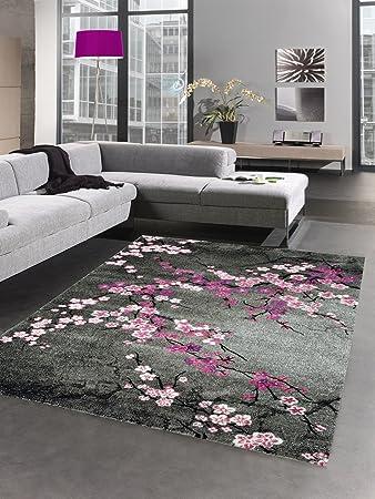 Carpetia Designer Teppich Kurzflor Blumen Grau Pink Rosa Größe