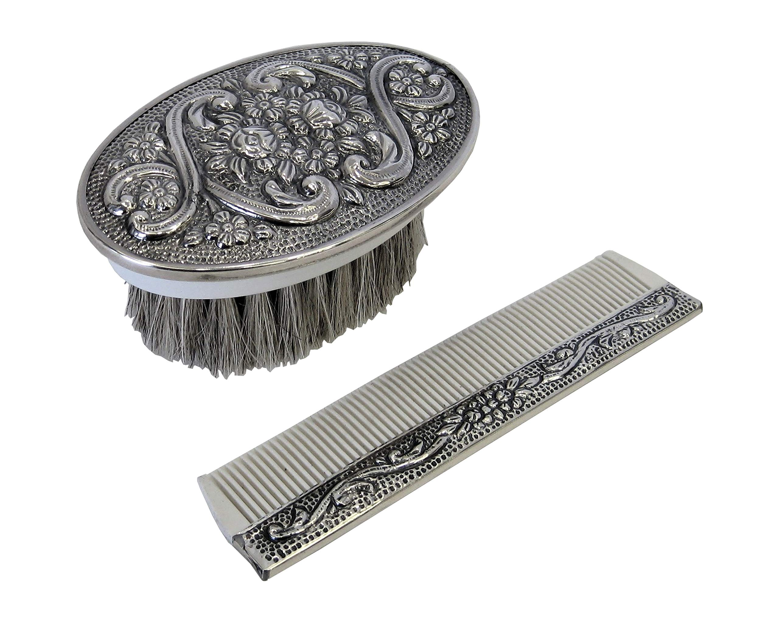 925 Sterling Silver Boy's Comb & Brush Set with Blue Felt Gift Box by Gelco