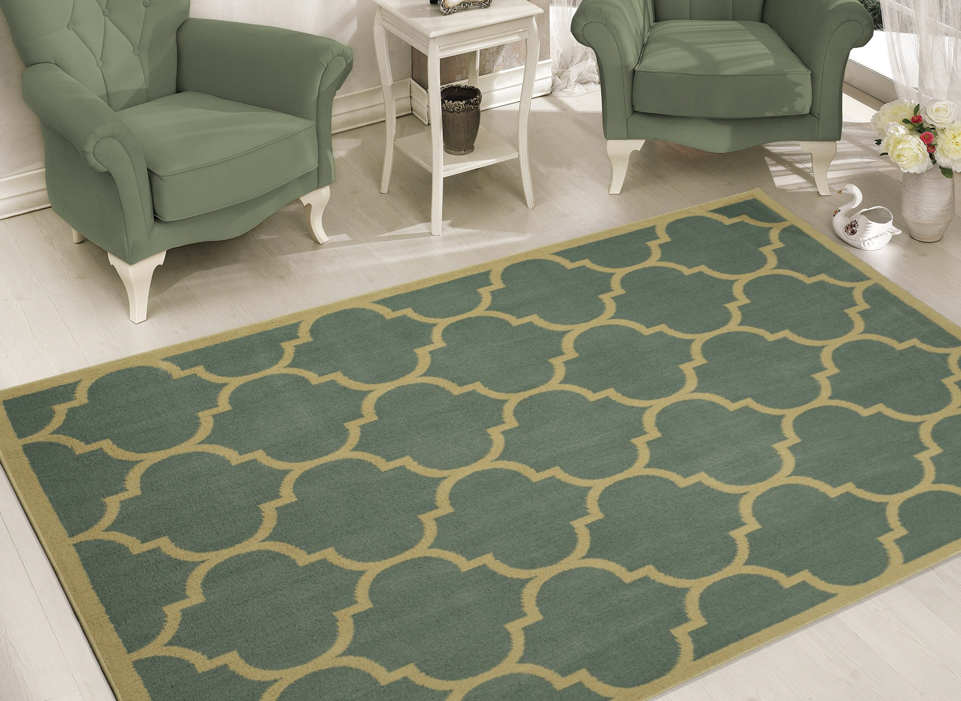 Sweet Home Stores Clifton Collection Moroccan Trellis Design Area Rug, 7'10'' X 9'10'', Seafoam by Sweet Home Stores (Image #1)