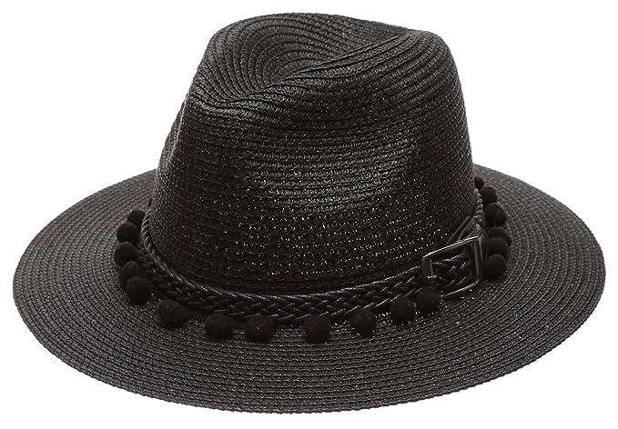 6f0e2f84f81 Women s Summer Panama Style Mid Brim Beach Sun Straw Hat with Pom Pom Belt  Band.