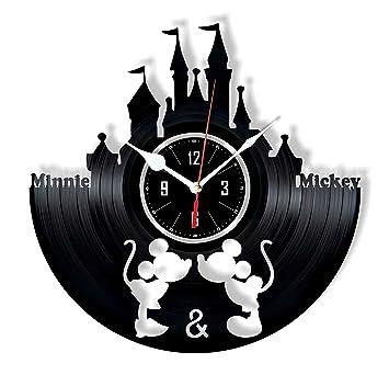 HMGift Reloj de pared con diseño de Mickey y Minnie Mouse – gran regalo para cumpleaños