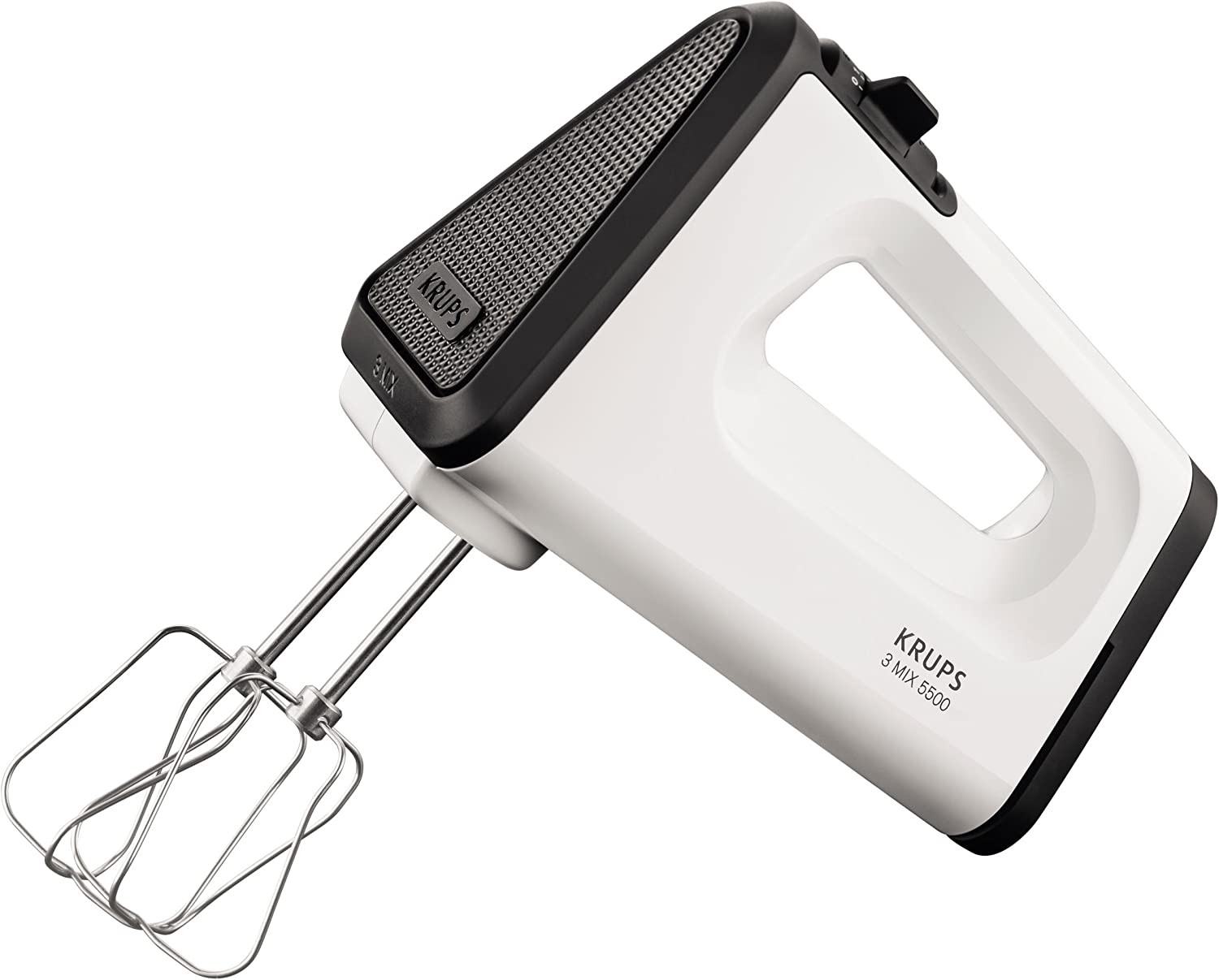 Krups 3 Mix 5500 Plus Hand mixer 500W Negro, Acero inoxidable, Color blanco - Batidora (Hand mixer, Negro, Acero inoxidable, Color blanco, Acero inoxidable, 500 W, 185 mm, 275 mm)