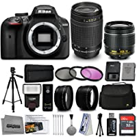 Nikon D3400 DSLR Camera AF-P DX 18-55mm VR 70-300mm Lenses + 32GB 15PC Accessory Bundle Kit