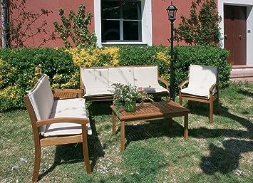 LuxuryGarden - Juego Salón sofás y sillones Bancos de madera ...