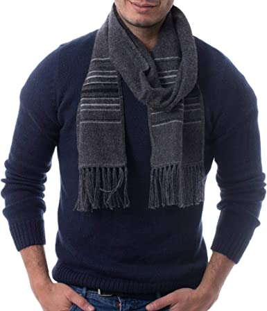 NOVICA Grey Mens 100/% Alpaca Scarf Gray Squared