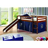 DONCO 780ATCP_750C-TP Circles Low Loft Bed with Blue Tent, Twin, Dark Cappuccino