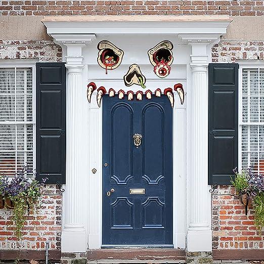 Joyjoz Halloween Deko Dekorationen Im Freien Monstergesicht Halloween Garage Torbogen Tur Dekoration Amazon De Kuche Haushalt