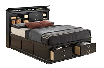 traditional storage platform bed in black finish queen 6125 in l x 9125 - Queen Bed Frame Black