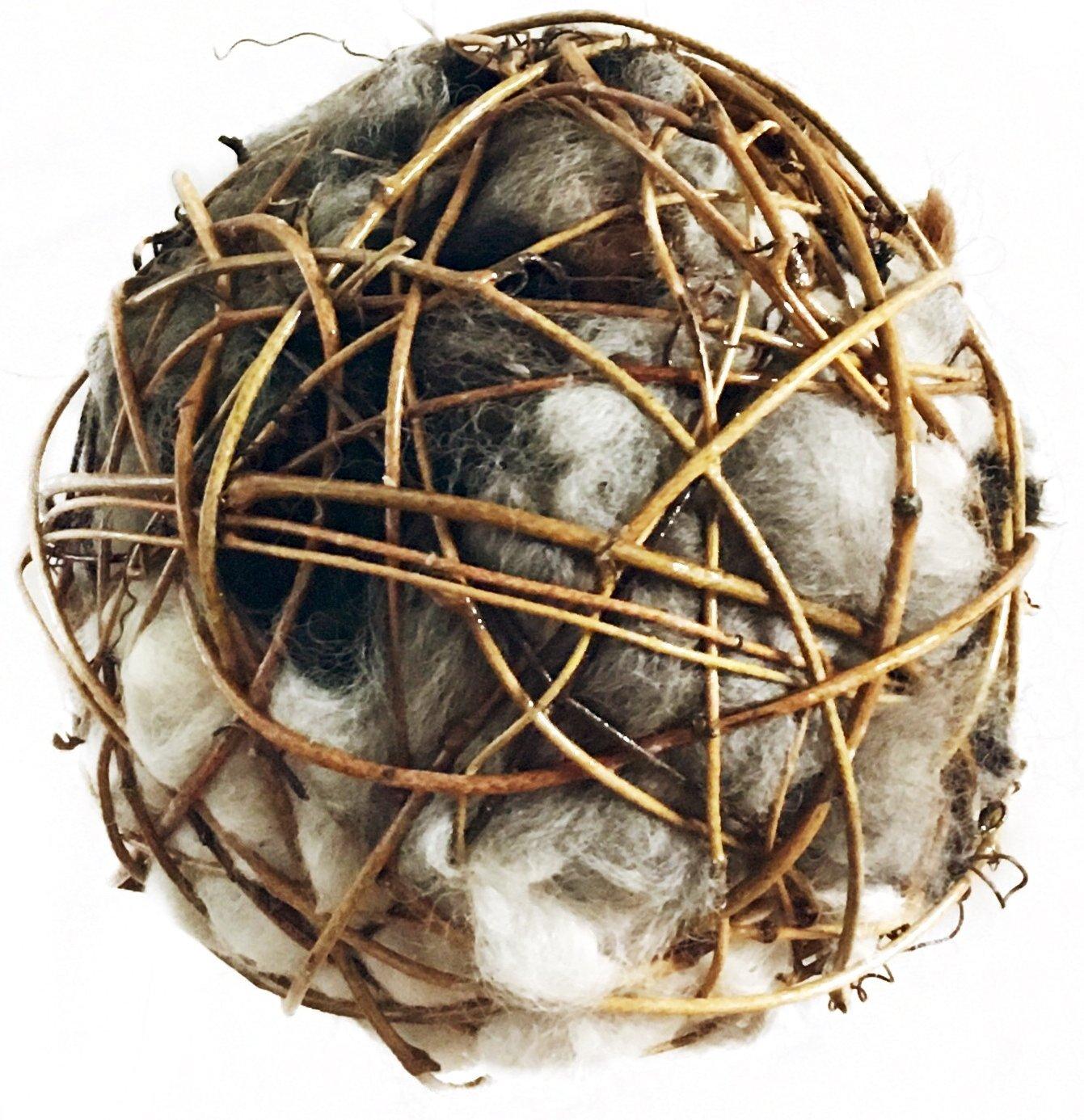 Bird Nesting Globe filled with Alpaca Fleece - All Natural, Hand Made in Montana (4'')