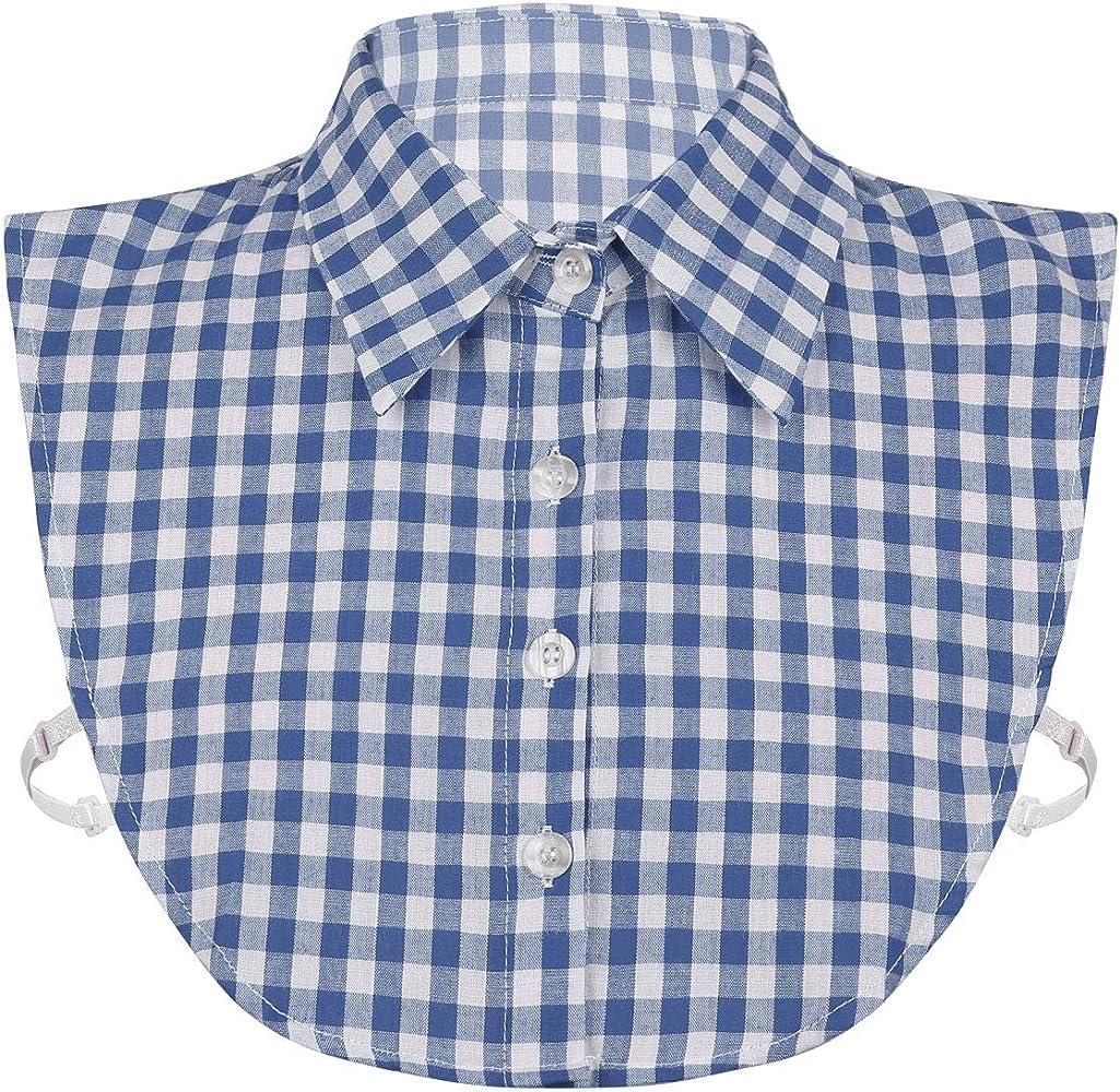 iiniim Cuello Falso Desmontable Mujer Algodón Collar Falso Mitad a Cuadros Camisa Blusa Elegante para Muchachas Azul One Size: Amazon.es: Ropa y accesorios