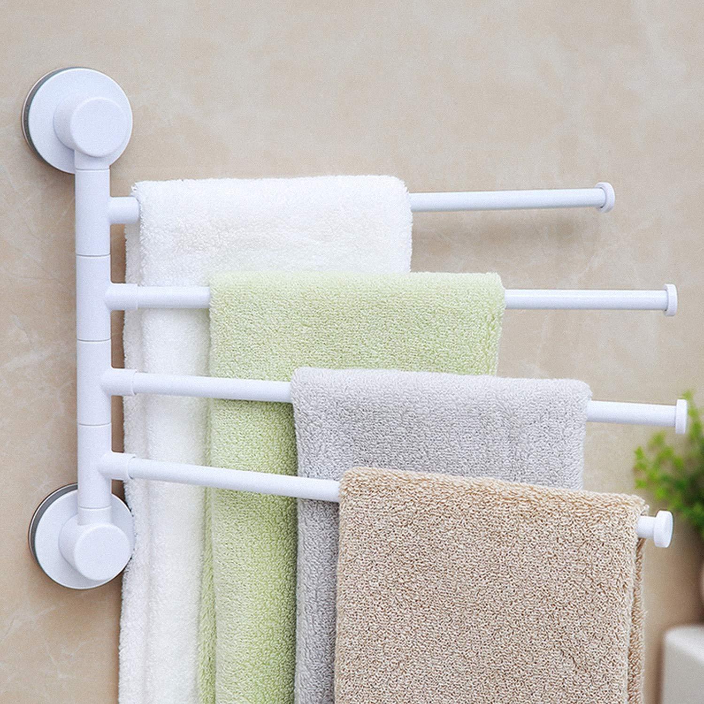HEYSTOP Barre de Serviette Adh/ésif Puissant Support Mural S/èche-Serviettes avec 4 Barres Rotatives pour salle de bain//cuisine//lavabo Porte-serviettes pivotant