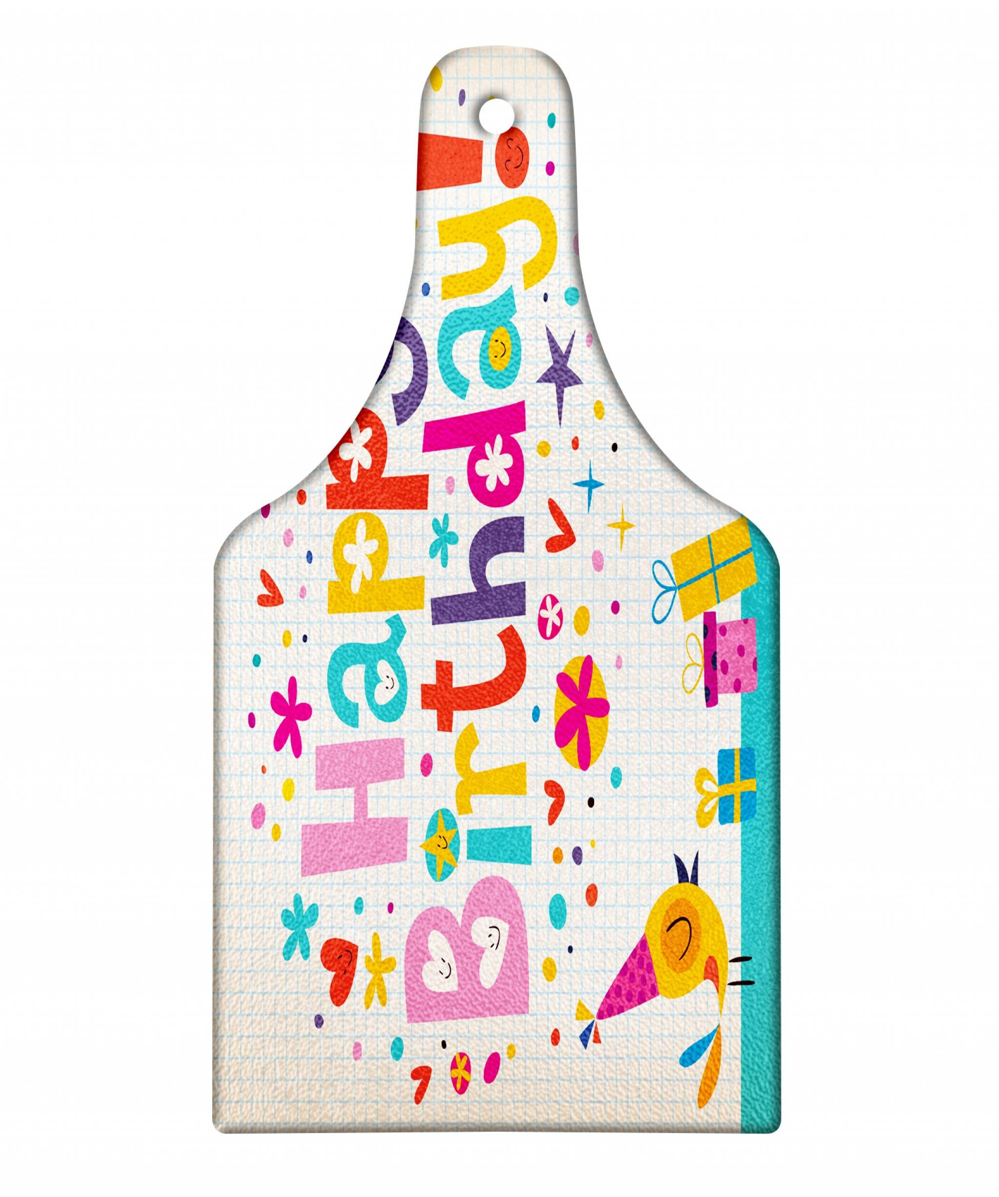 Ambesonne Kids Birthday Cutting Board, School Theme Math Student Note Pad Floral Rainbow Colored Party Quote Print, Decorative Tempered Glass Cutting and Serving Board, Wine Bottle Shape, Multicolor