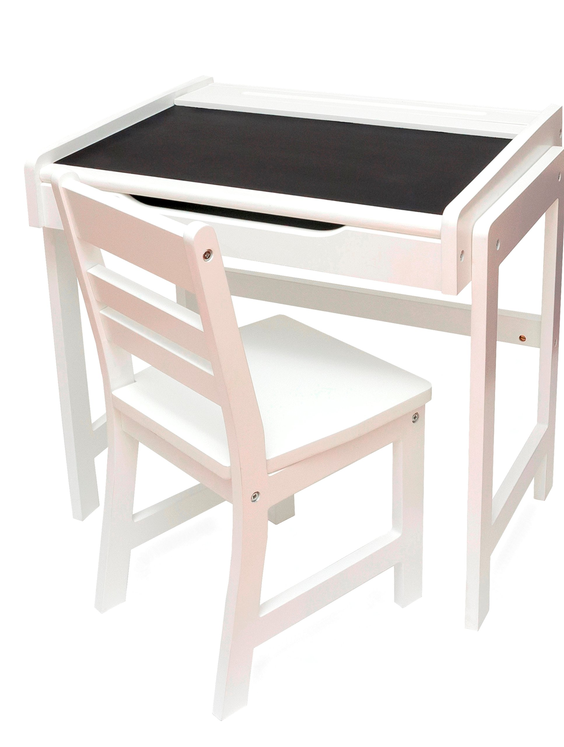 Lipper International 654WH Child's Desk with Chalkboard Top and Chair Set, White