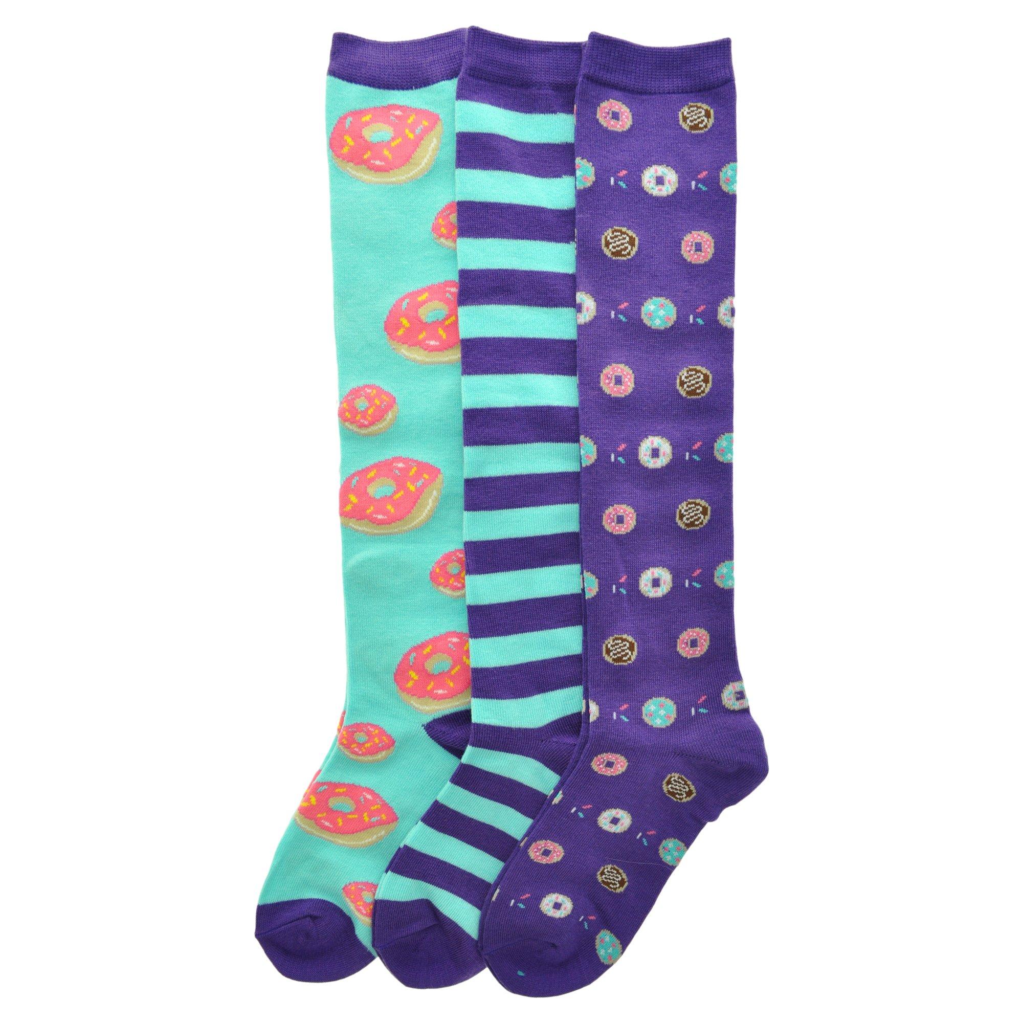 Angelina 3-Pack Adult Knee-length Novelty Donuts Socks, 2551_3_9-11 by Angelina