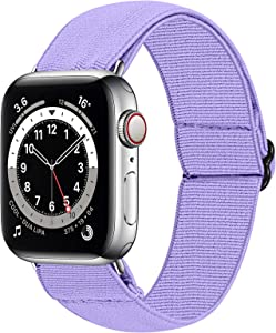 HAYUL Stretchy Nylon Bands Compatible with Apple Watch Bands 38mm 40mm 42mm 44mm, Adjustable Sport Elastics Women Men Wristband for iWatch Series 6/5/4/3/2/1 SE (Lavender, 38/40mm)