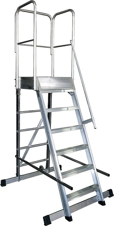 Arcama 1EP60060149 Escalera plataforma móvil industrial, 60 x 60 x ...