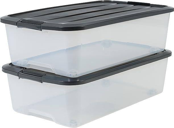 Iris Ohyama, lote de 2 cajas de almacenamiento debajo de la cama con ruleta - Top Box - TBU-40, plástico, transparente / negro, 40 L, 68 x 39 x 19.3 cm: Amazon.es: Hogar
