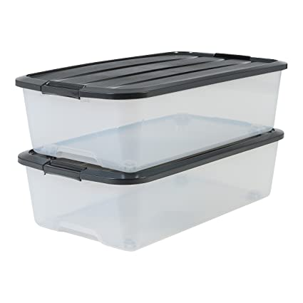 IRIS Set of 2 Under Bed Storage Boxes with Wheels – Top Box – tbu-