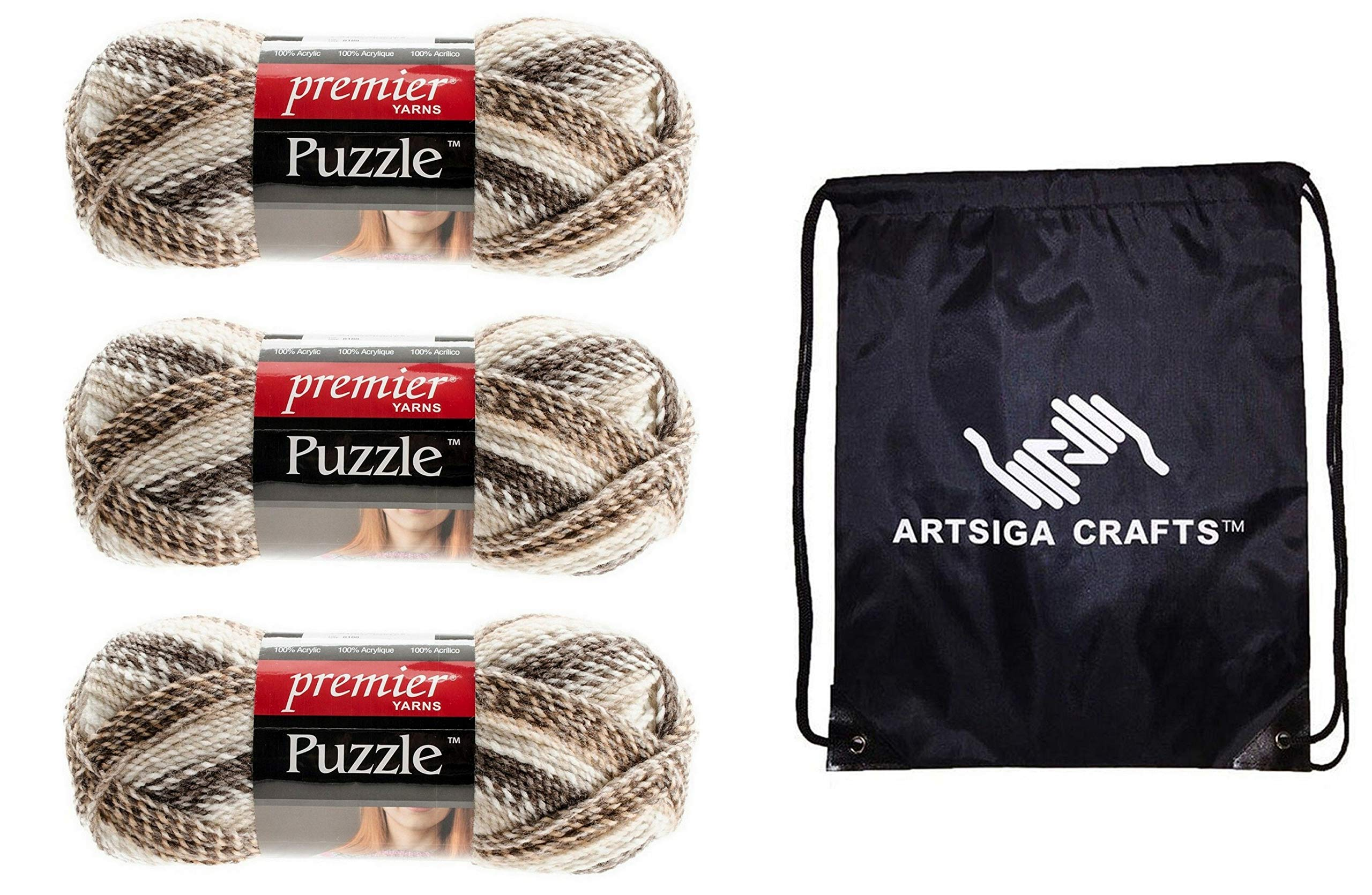 Premier Knitting Yarn Puzzle Crossword 3-Skein Factory Pack (Same Dye Lot) 1050-03 Bundle with 1 Artsiga Crafts Project Bag