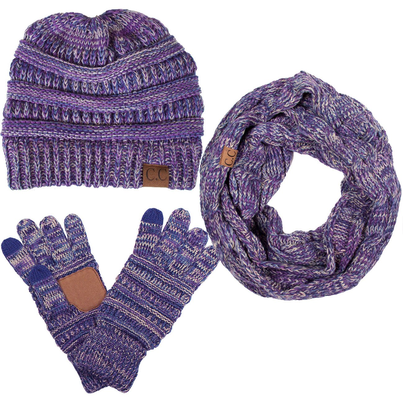 ScarvesMe CC 3pc Multi Tone Trendy Warm Chunky Soft Stretch Cable Knit Beanie, Scarves and Gloves Set