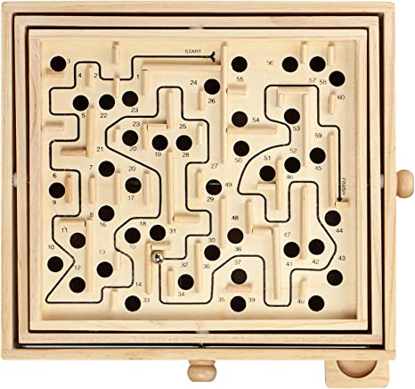 Topwon Wood Labyrinth Table Maze Large Balance Board Table Maze Solitaire Game for Kids and Adults Great gift!