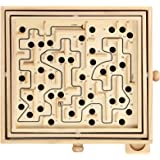 STERLING Games Large Wooden Labyrinth Tilt Maze Game with 60 Holes for 6 Years and Up