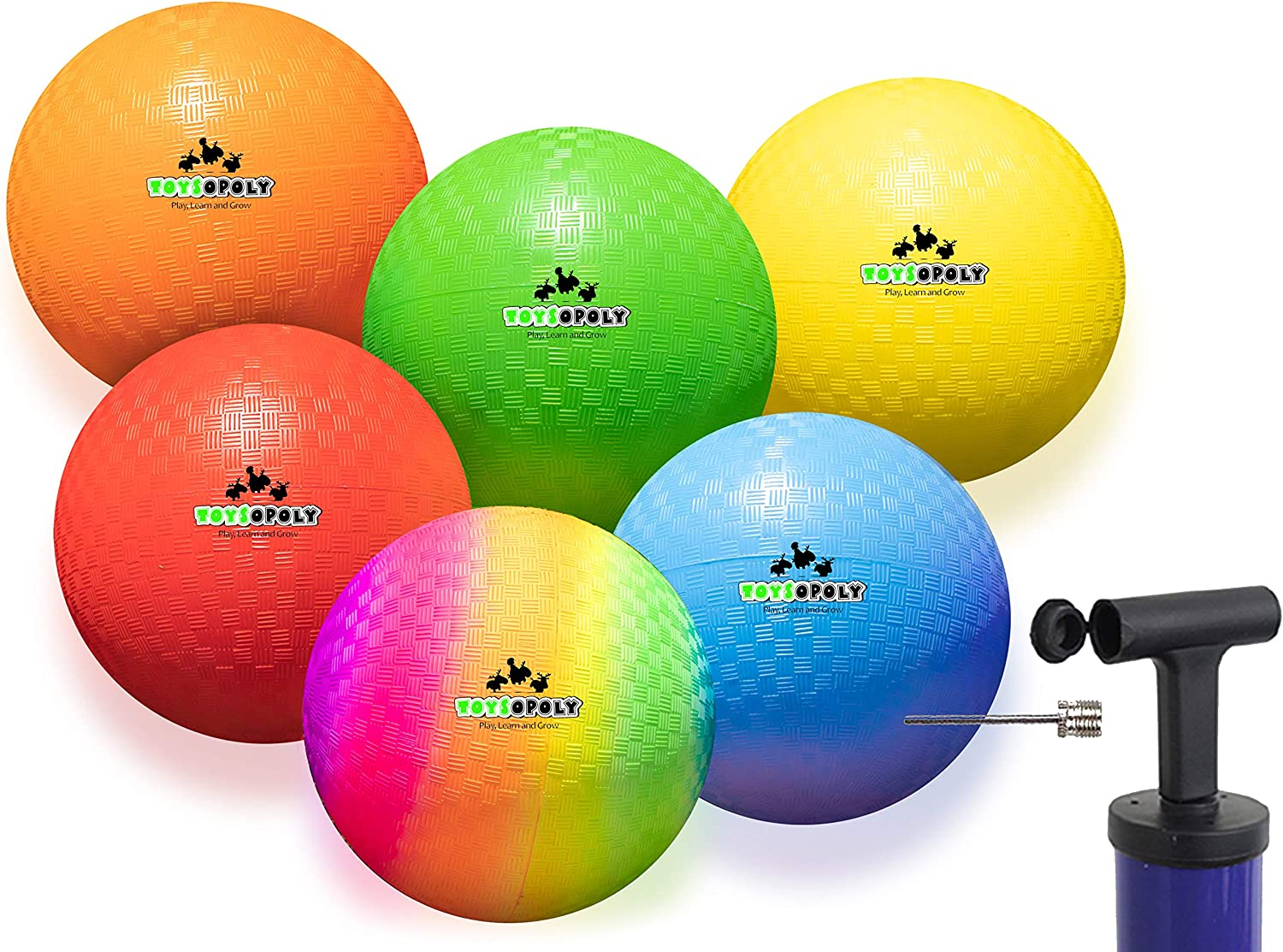 Inflatable Dodgeball - Official 7 Inch Balls + Soft Skin Rubber Give No Sting and Hurt. Best Hand Ball for Boys Girls Kids and Adults - Includes Ball Pump & Mesh Bag