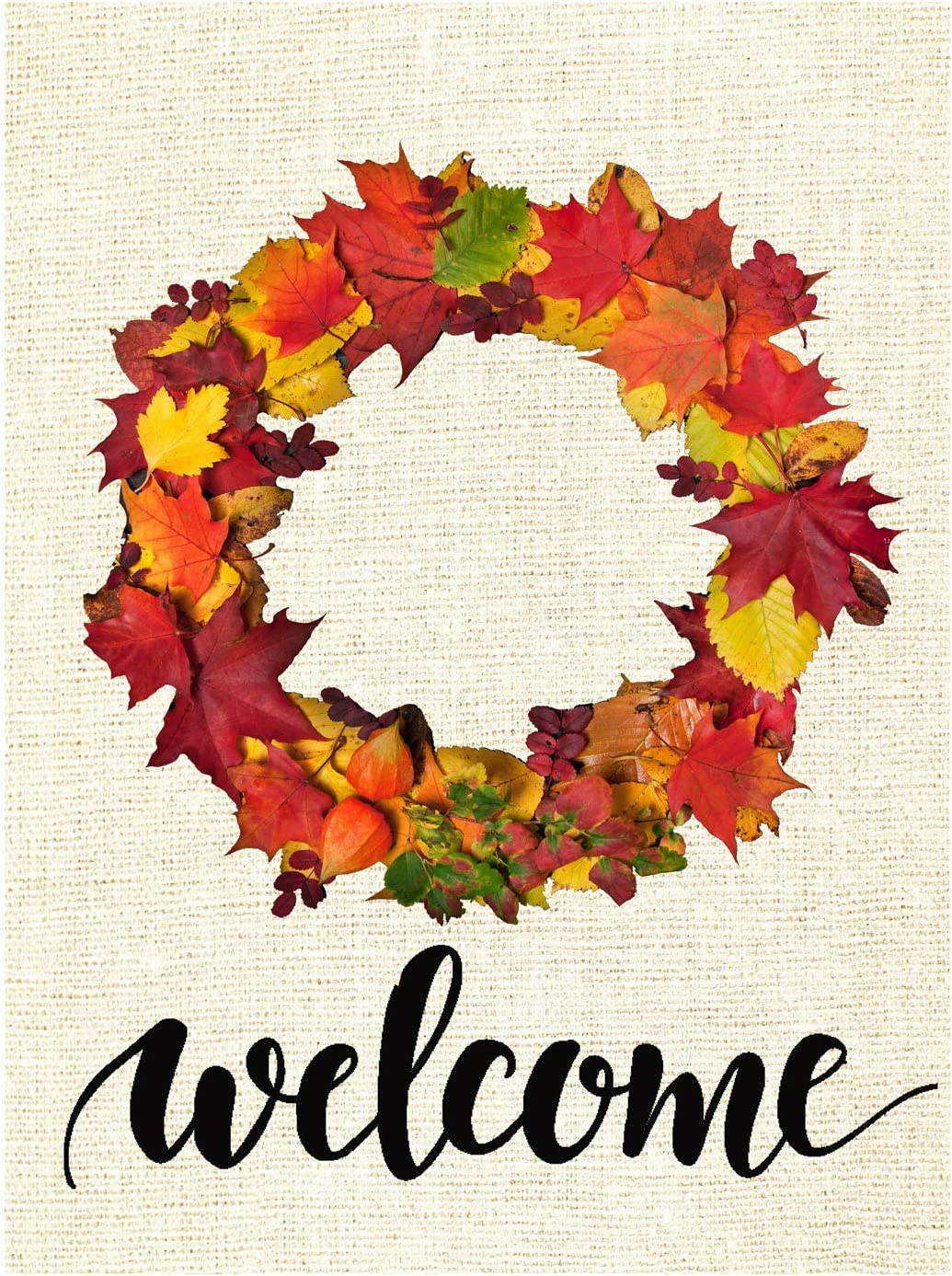 Wamika Welcome Fall Autumn Maple Leaves Wreath Double Sided Burlap Garden Yard Flag 12