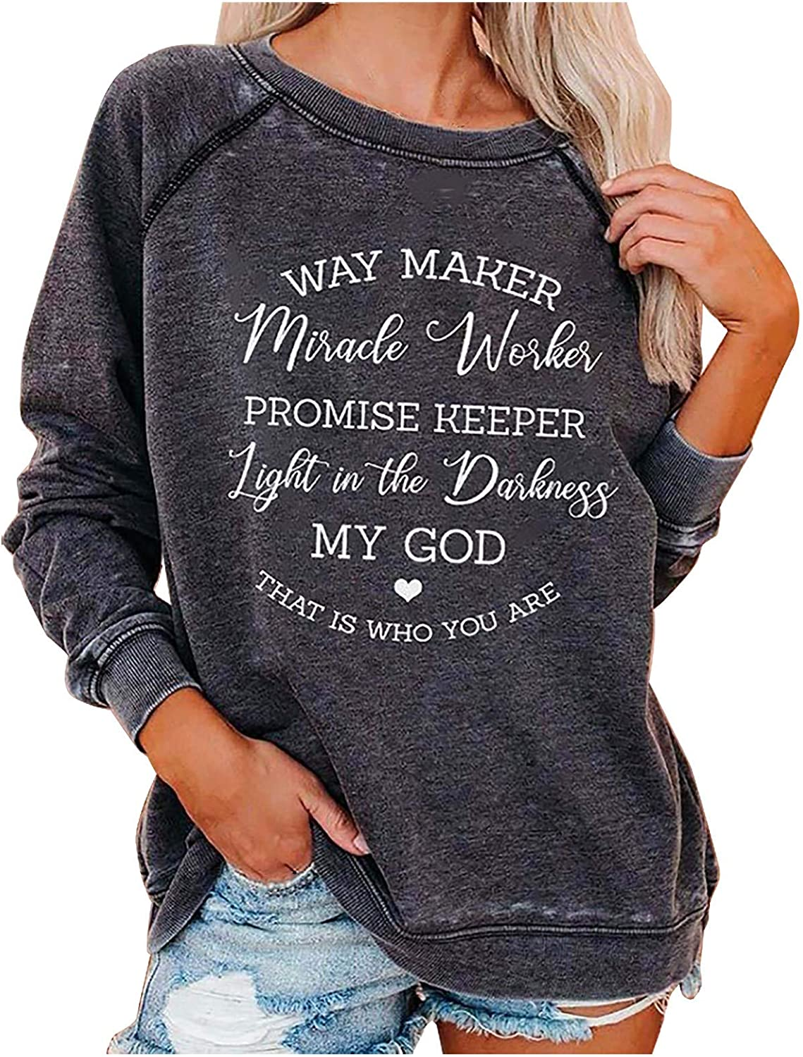 Womens Long Sleeve Tie Dye Shirts Way Maker Miracle Worker Letter Printed Casual Novelty Pullover Crewneck Tops