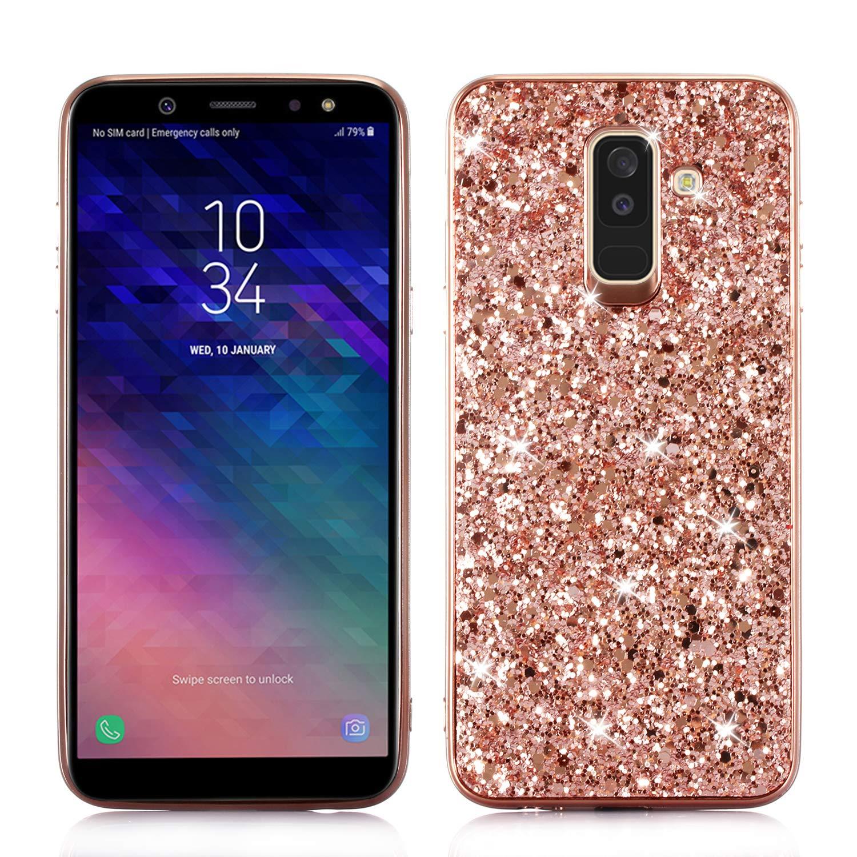 Yobby Bling Glitter Sparkle Custodia per Samsung Galaxy A6 2018, Samsung Galaxy A6 2018 Cover Lusso Moda Design,Difficile PC Indietro + Antiurto TPU Telaio Paraurti Protettivo Caso-Oro