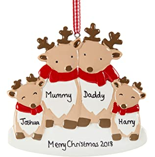 personalised reindeer christmas decoration for family of four family bauble xmas ornament any