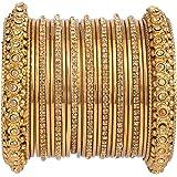 Efulgenz Boho Vintage Antique Gypsy Tribal Indian Oxidized Gold Plated Crystal Bracelet Bangle Set Jewellery (25 Pc)