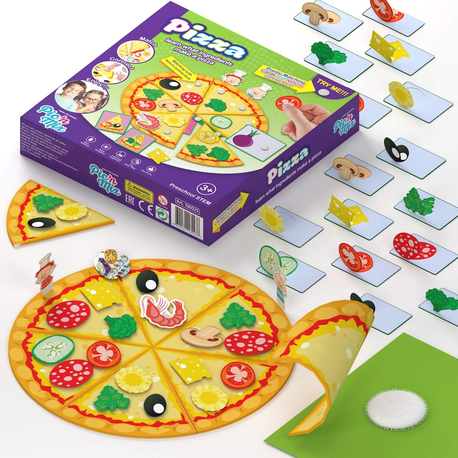 Picnmix Pizza Game- Pizza Toy for Kids Kitchen Playset Plastic Food- Game Fields, Attached Elements, Sample Cards (39 Pcs)- Perfect Toy Food for Play Kitchen-Pretend Pizza Sets for Kids