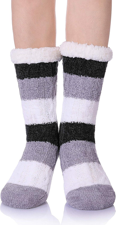 SDBING Womens Sequin Super Soft Warm Cozy Fuzzy Fleece-lined Winter Christmas gift Slipper socks