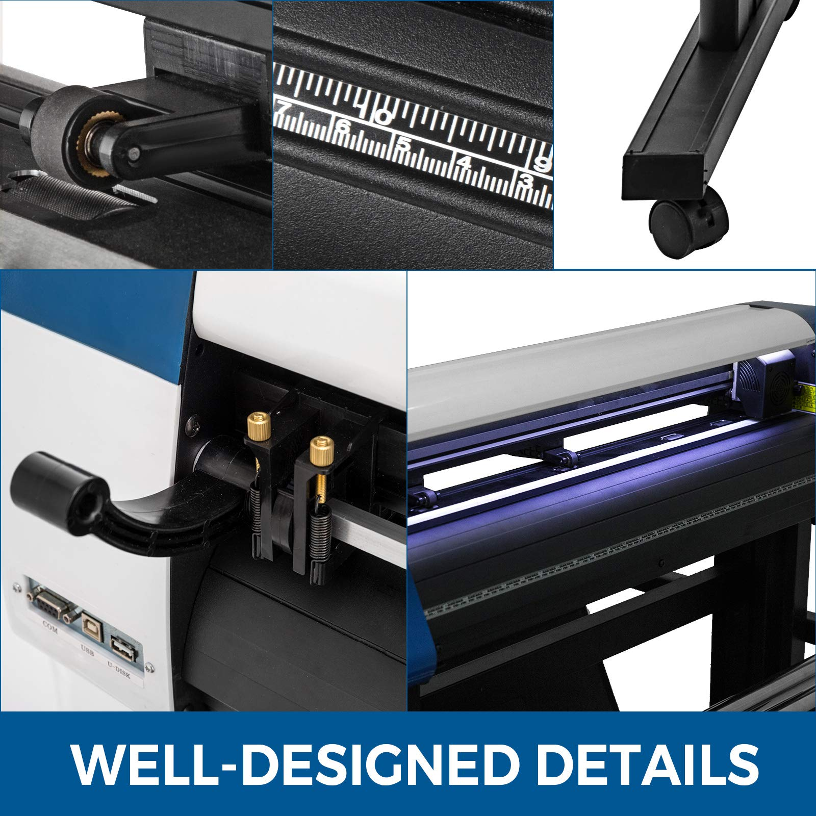 VEVOR Vinyl Cutter 28 inch Vinyl Cutter Machine Semi-Automatic DIY Vinyl Printer Cutter Machine Manual Positioning Sign Cutting with Floor Stand Signmaster Software by VEVOR (Image #6)