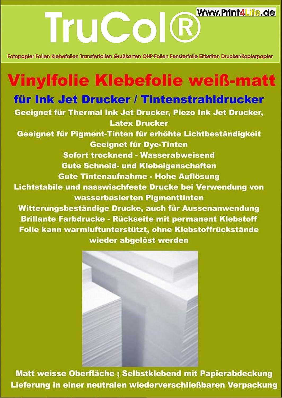 10 Blatt A4 Klebefolie Selbstklebende Vinylfolie, matt-weiss für indoor / outdoor Anwendung: Permanent selbstklebende Vinylfolien mit matt-weisser Oberfläche. Die Beschichtung zeichnet sich aus durch eine sehr gute Wasser- und Nasswischfestigkeit und ist