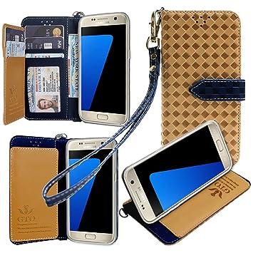 【ストラップ2種付】Samsung docomo Galaxy S7 edge SC-02H / Samsung Galaxy S7 edge  SCV33 AU ケース 手帳型 カバー 手帳型 【GTO】お洒落な2トーンカラー オリジナルハンドストラップ&ネックストラップ付 3点セット