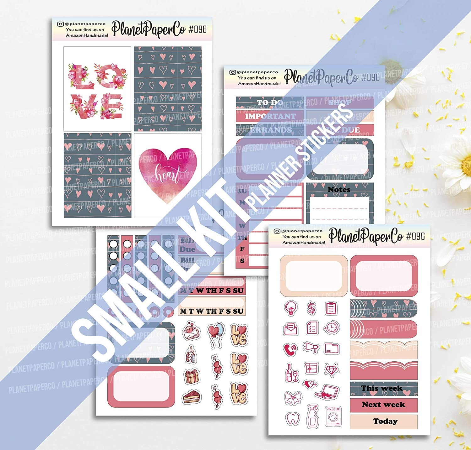 Planner Stickers Full Boxes Icons Check Lists Half Boxes Weekly Tabs LOVE Hearts Mini Kit 4 Pages