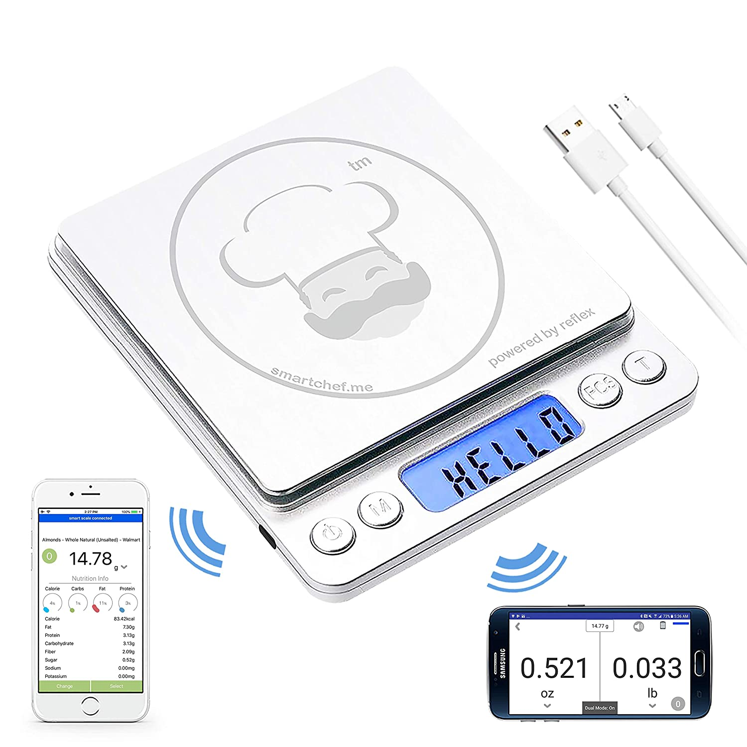 reflex 500g / 0.01g Digital Pocket Wireless smart food kitchen Scale grams and ounces USB rechargeable, portable, accurate, metal stainless steel surface, nutritional keto calculator, baking, counter