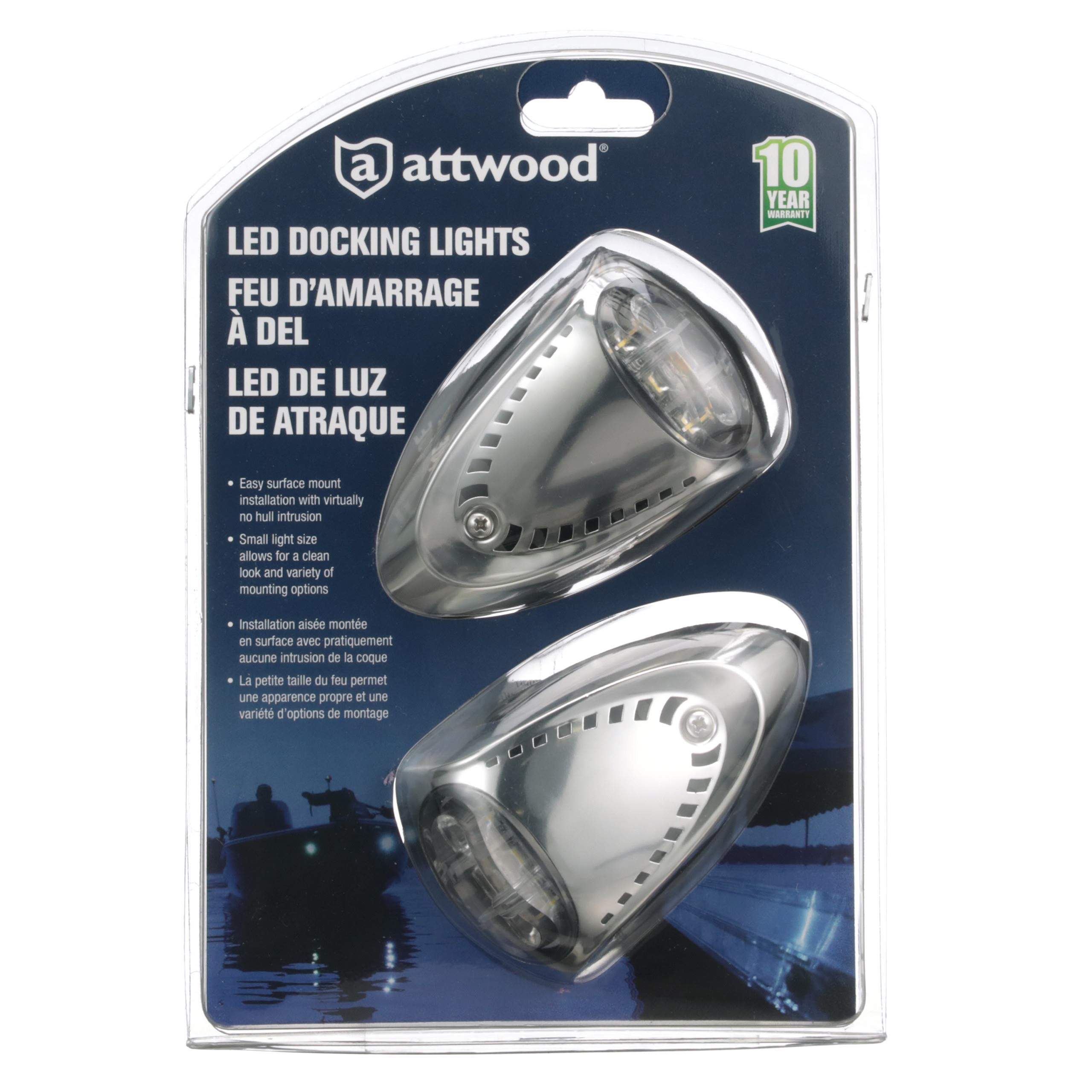 attwood 6522SS7 Universal Marine Boat LED Docking Lights , Silver by attwood
